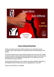Démonstration Auto-Défense à Malijai le 12 Juin 2021 de 14h à 17h